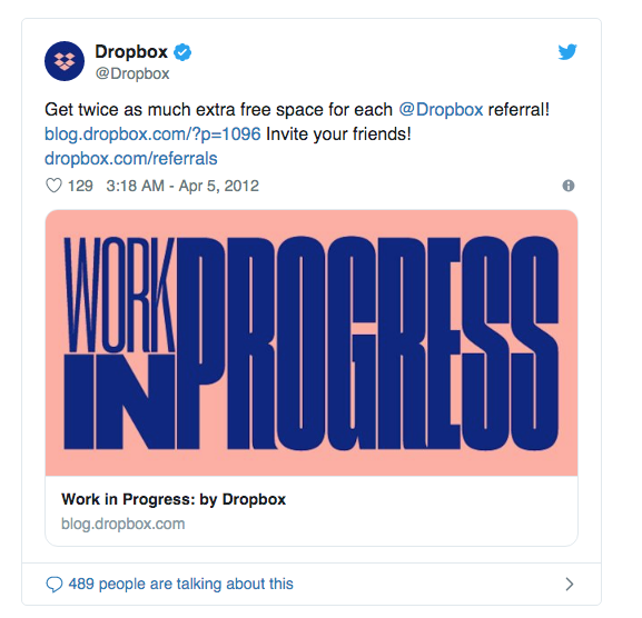 Dropbox referral word of mouth program